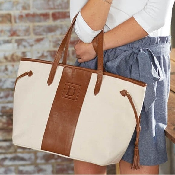 MUDPIE CANVAS AND LEATHER PURSE