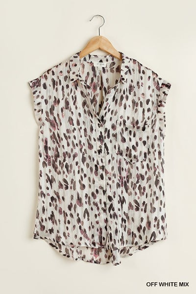 animal print button down