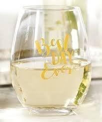 MUDPIE Best Day Ever Wine Glass