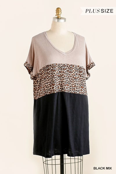 ANIMAL PRINT VNECK DRESS
