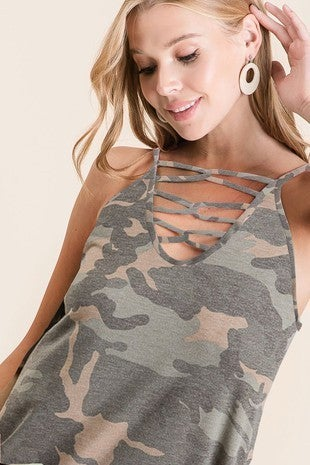 camo caged knit top