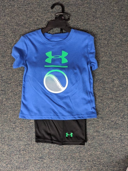 BOYS UNDER ARMOUR BLUE BASEBALL SHIRT/SHORTS