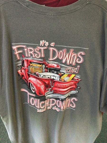 SASSY FRASS GREY SHORT SLEEVE ITS A FIRST DOWNS AND TOUCH DOWNS KIND OF DAY SHIRT