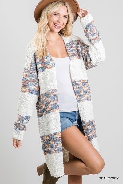 CREAM AND MULTICOLOR CARDIGAN