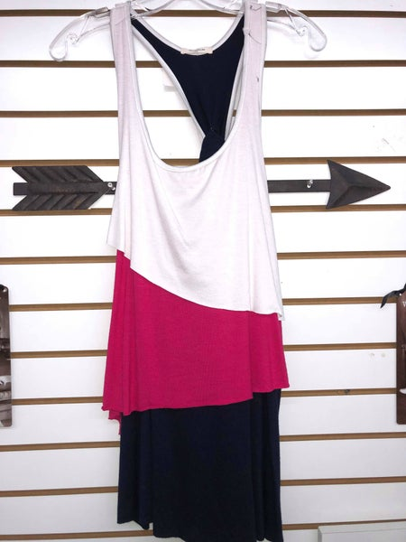 White, Pink, and Navy layered Tank