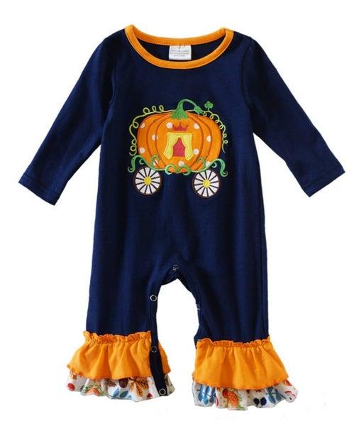 navy pumpkin applique ruffle baby romper