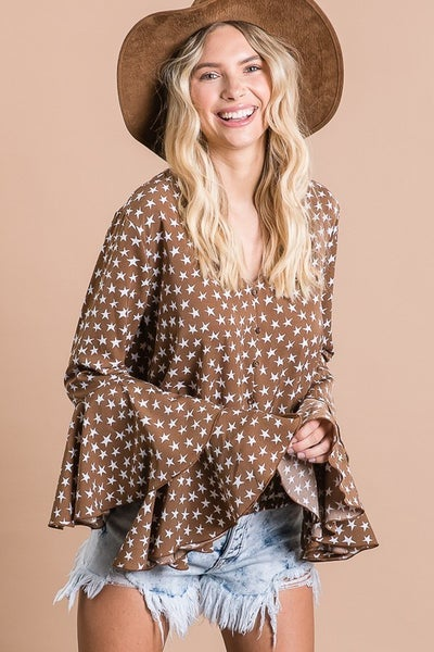STAR PRINT RUFFLE SLEEVE CROP V NECK TOP