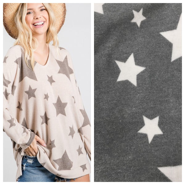 Hacci star print brush pullover