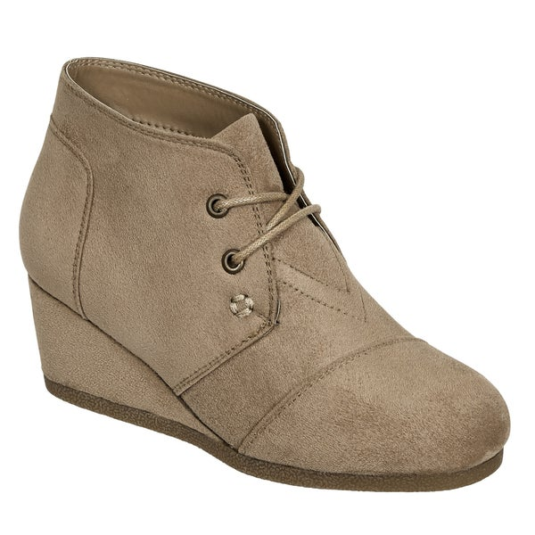 PIERRE DUMAS KIDS TAUPE LACE UP WEDGE