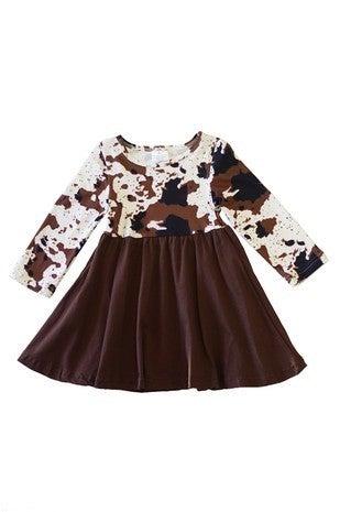 Cow pattern twirl dress