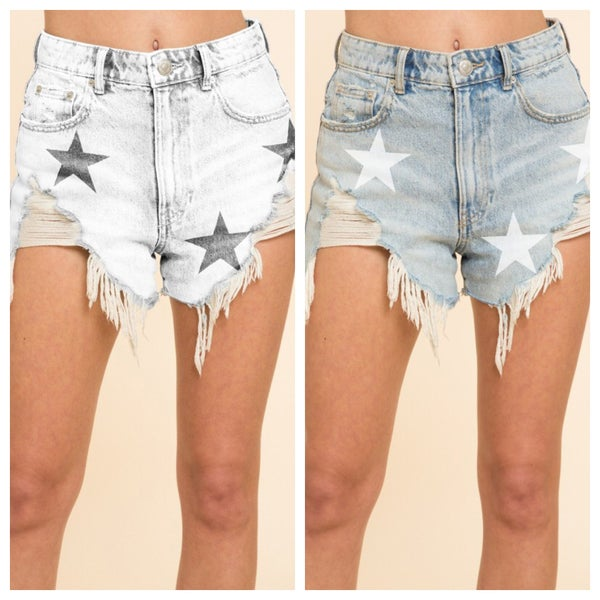 DISTRESSED STAR DENIM SHORTS