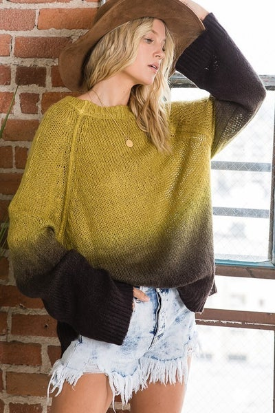 Ombre dip dyed long sleeves sweater top