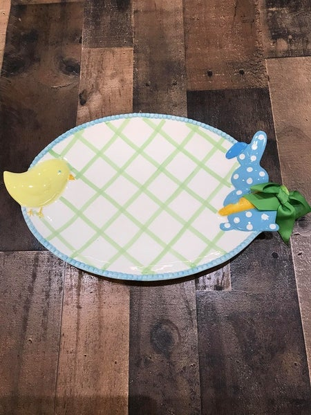 MUDPIE CHICK AND BUNNY PLATTER