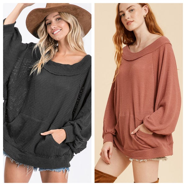 Bishop cuff long sleeve oversized solid top