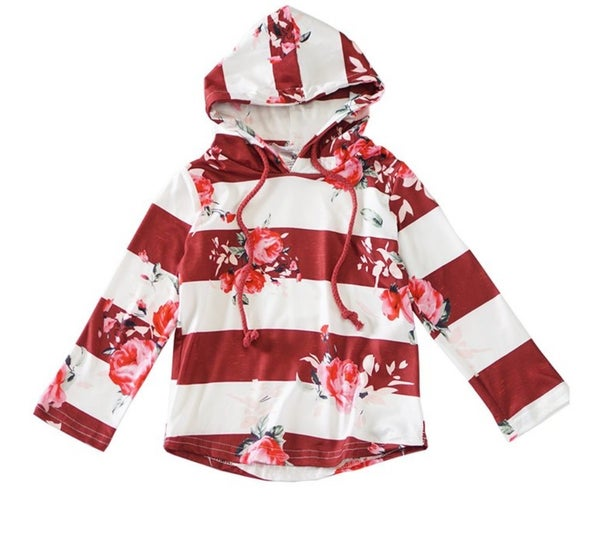 maroon floral stripe hoodie top