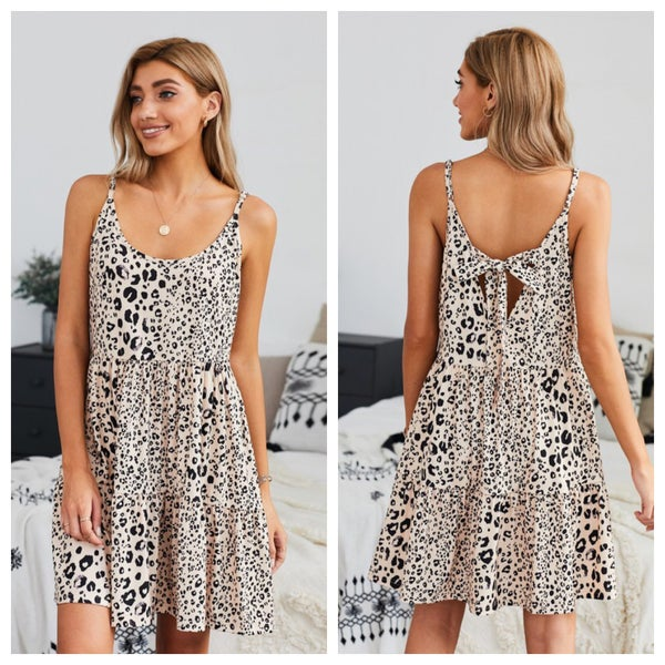 LEOPARD PRINT TIERED DRESS