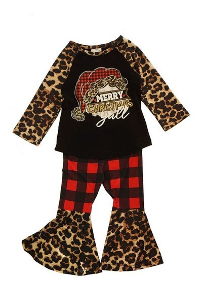 Merry christmas leopard top with bell pants set