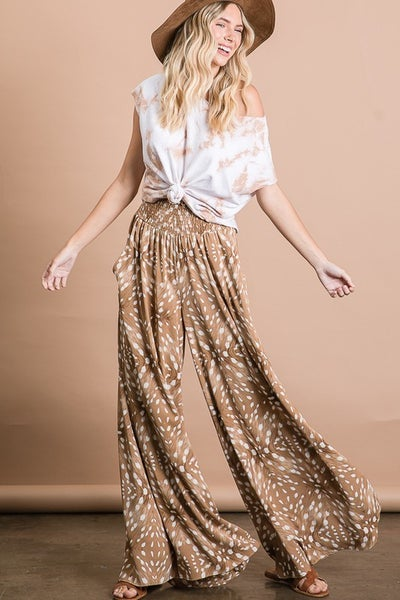 Multi Printed Smocked Waist Maxi Pants with Side Pockets