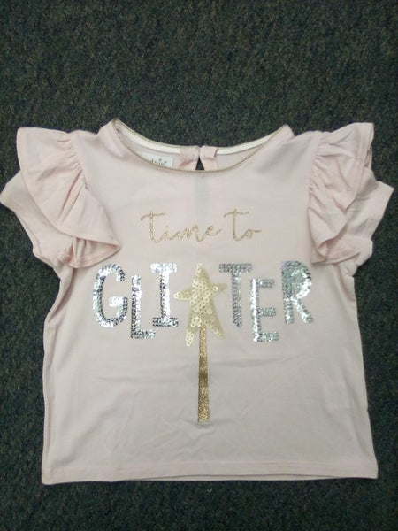 "Mudpie ""Time to Glitter"" Pink Shirt"