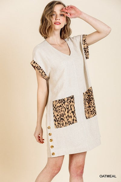 Animal Print Short Sleeve Dress Buttons and Front Pockets