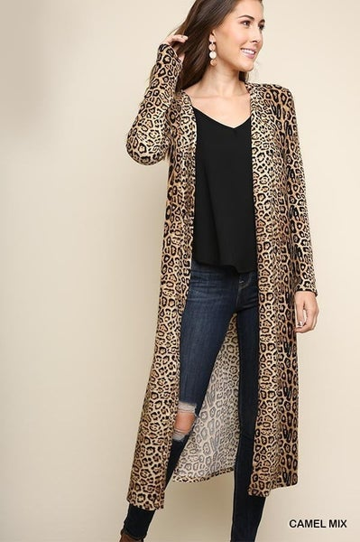 ANIMAL PRINT LONG CARDIGAN WITH SLITS