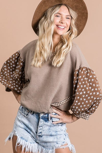 Soft Brushed Mix and match Top with Star Print