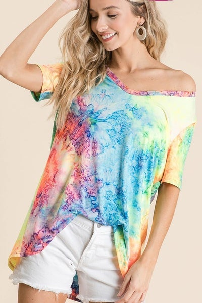 TIE DYED PRINT JERSEY V NECK TOP *Final Sale*