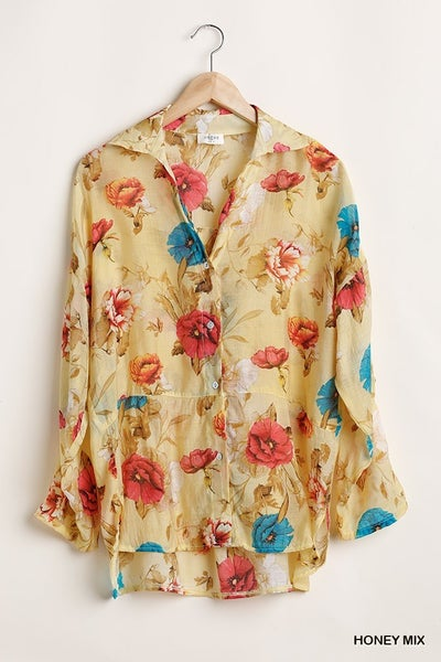 Floral Button Up long Sleeve Shirt
