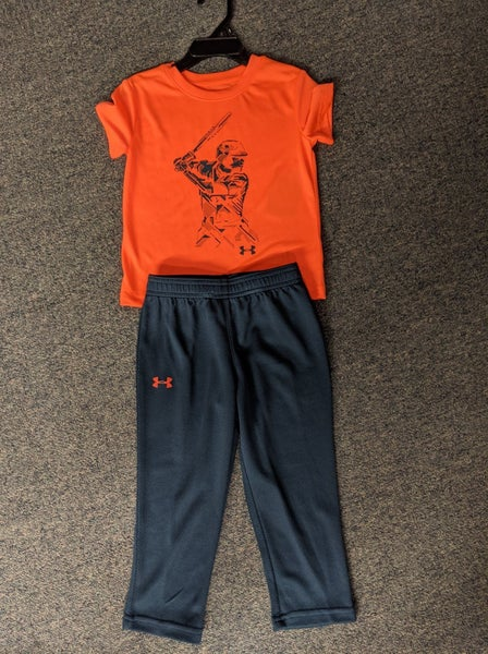 BOYS UNDER ARMOUR ORANGE BASEBALL SET