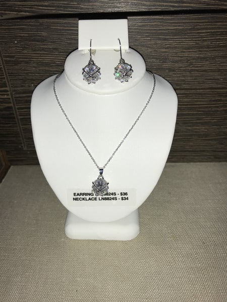CZ CUBE NECKLACE OR EARRINGS (PRICED SEPARATELY)