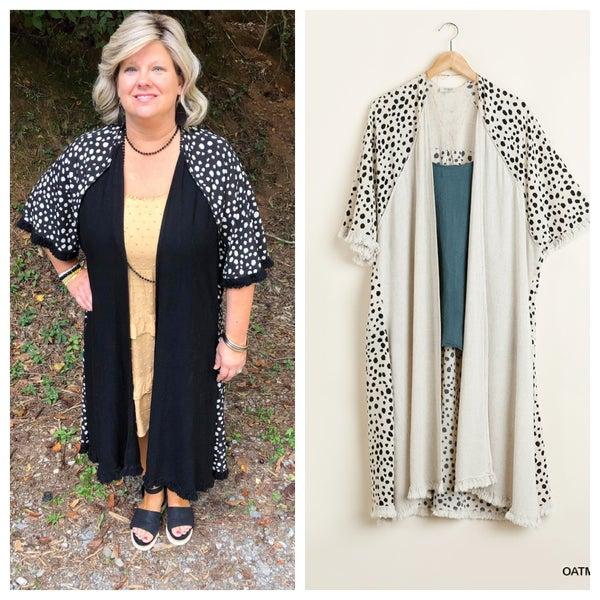 Dalmatian Print Long Kimono with Frayed Hem