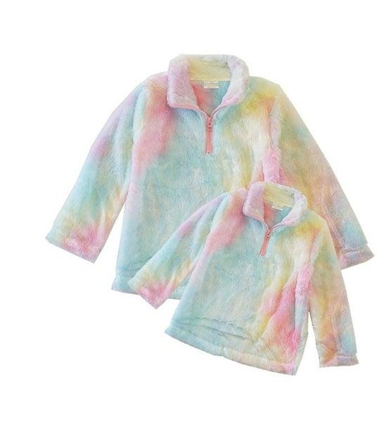 Tie dye sherpa jacket mom & me (Kids sizes)