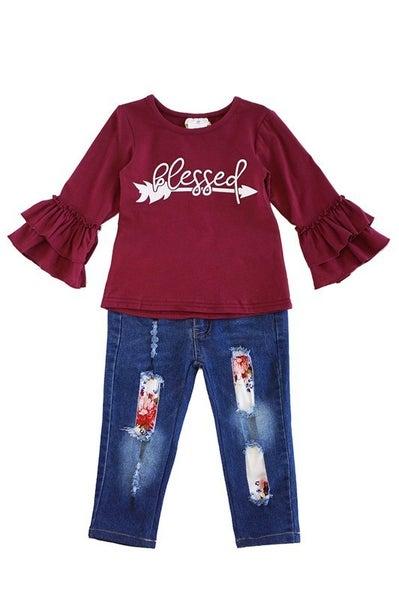 Maroon blessed denim jeans set