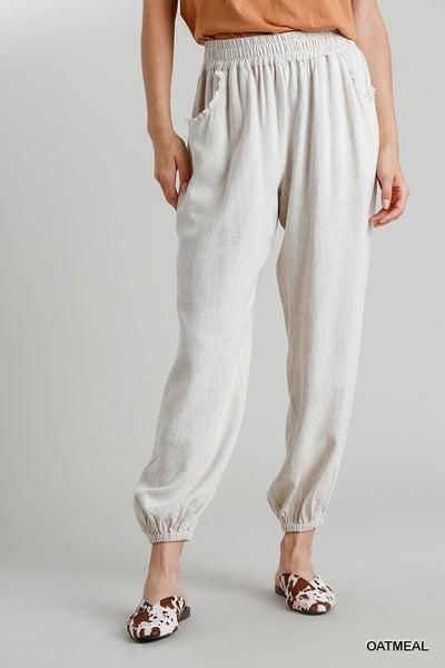 Linen Blend Jogger Pants with Elastic Waist Band and Frayed Hem Pockets