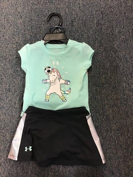 GIRLS UNDER ARMOUR MINT WITH UNICORN 2PC SET