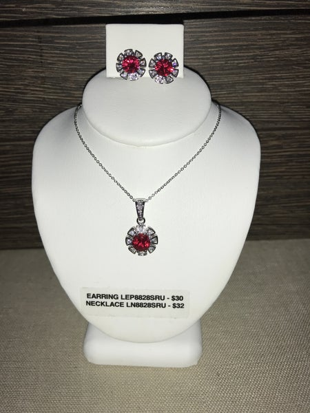 CZIRE CZ AND RUBY EARRINGS OR NECKLACE (PRICED SEPARATELY)