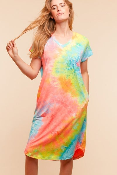 tie dye vneck short sleeve dress