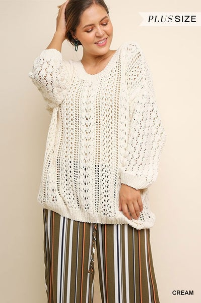 LONG SLEEVE PUFFF KNIT SWEATER