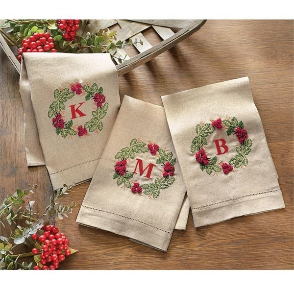 INITAL FRENCH KNOT TOWEL