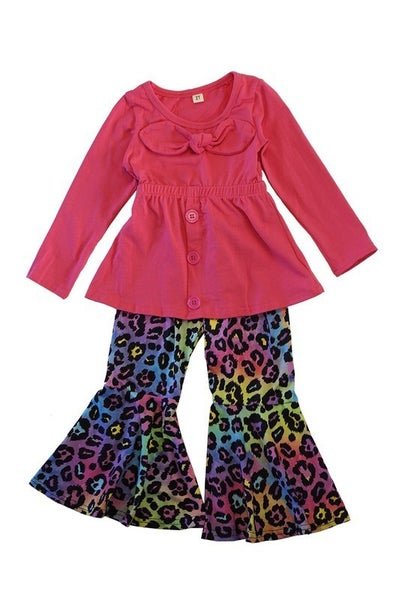 Pink shirt with leopard bell pants set
