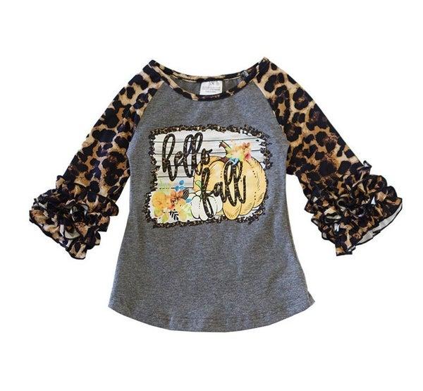 Hello fall leopard icing sleeve shirt