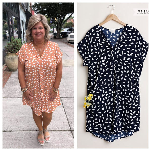 CURVY V NECK DALMATIAN DRESS WITH POCKETS