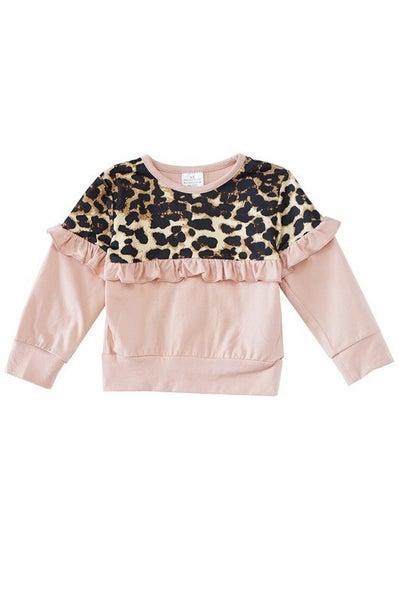 Pink leopard ruffle top
