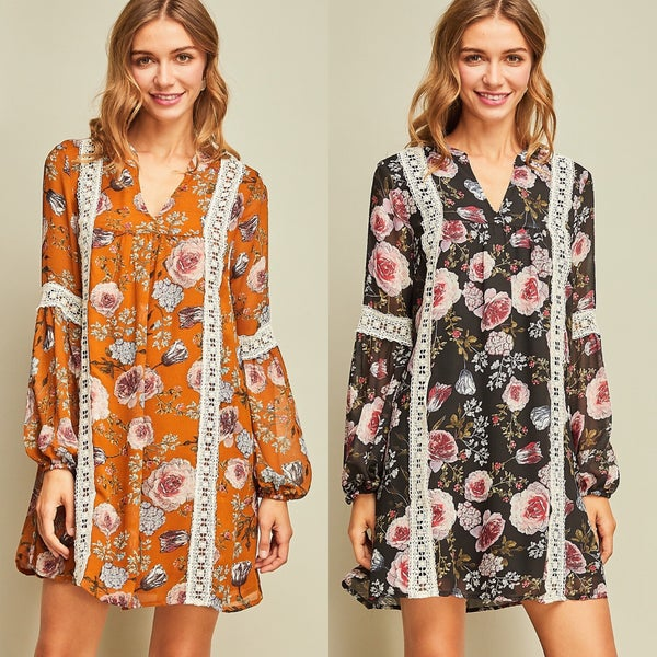 Floral print v-neck shift dress featuring crochet trim throughout