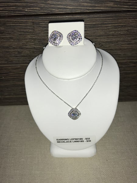CZ SQUARE PENDANT NECKLACE OR POST EARRINGS