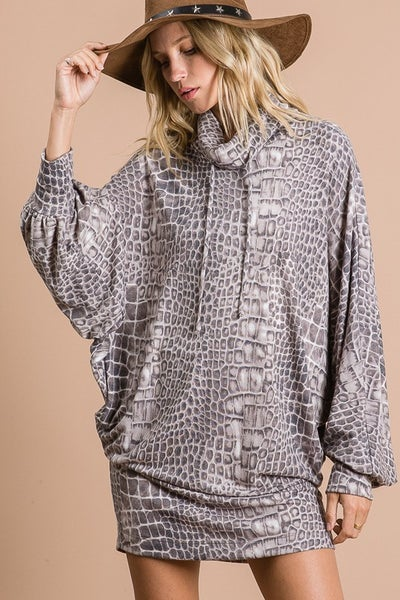 Alligator Skin Turtle Neck Long Sleeves Mid Dress/Tunic