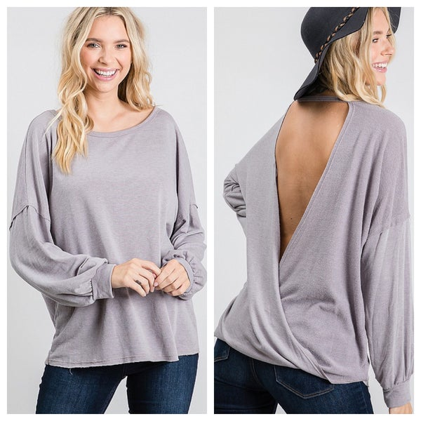 Round neck drop shoulder top with open back
