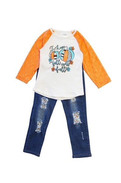 Pumpkin lace with distressed jeans set