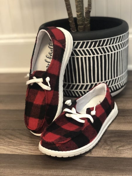 hey gal heather red plaid sneakers