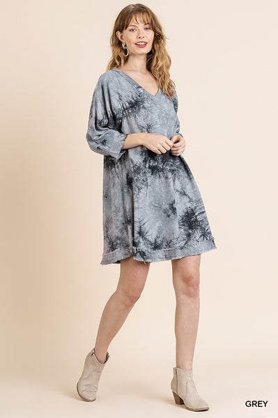 Tye Dye dress with frayed hem
